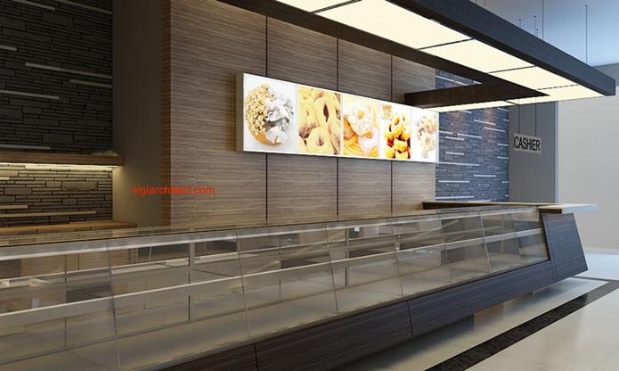 Desain Toko Roti & Cafe  Interior Minimalis