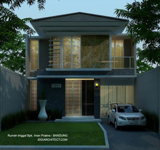 Denah Rumah Tinggal 2 Lantai Modern Tropis Desain
