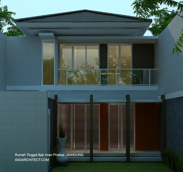 denah rumah tinggal 2 lantai modern tropis