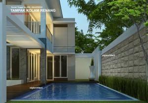 rumah sudut minimalis 2 lantai type 400 m2 & desain kolam