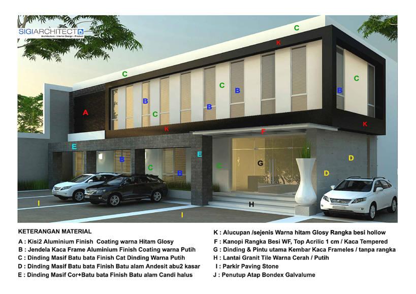 bangunan Kantor 2 lantai - Material Fasad