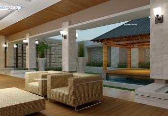desain villa bali 1 lantai & model teras rumah taman & kolam