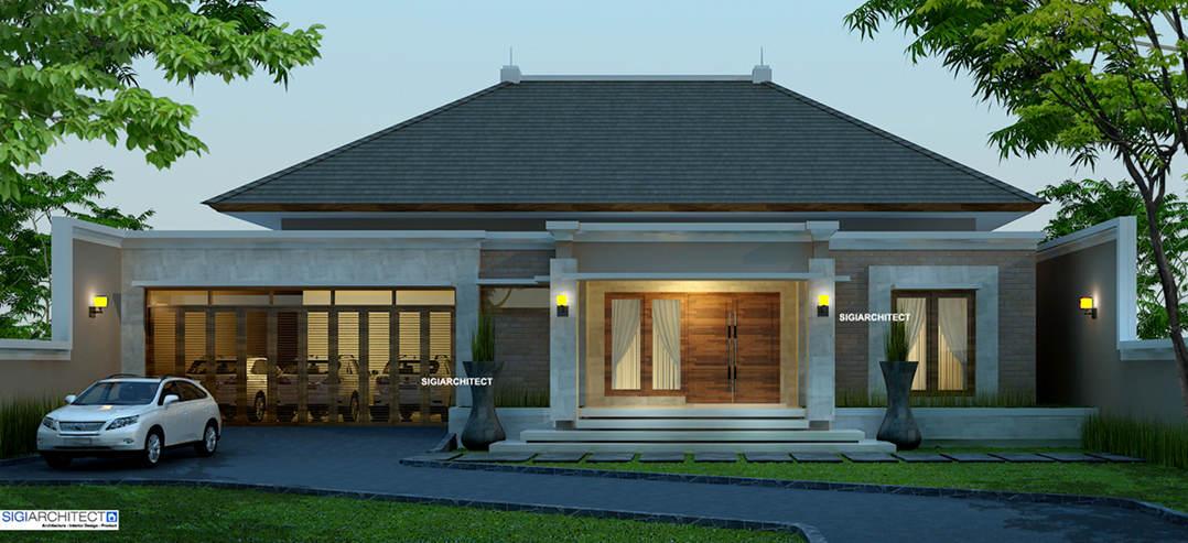 Desain Villa Bali 1 Lantai I Teras Rumah Taman Amp Kolam