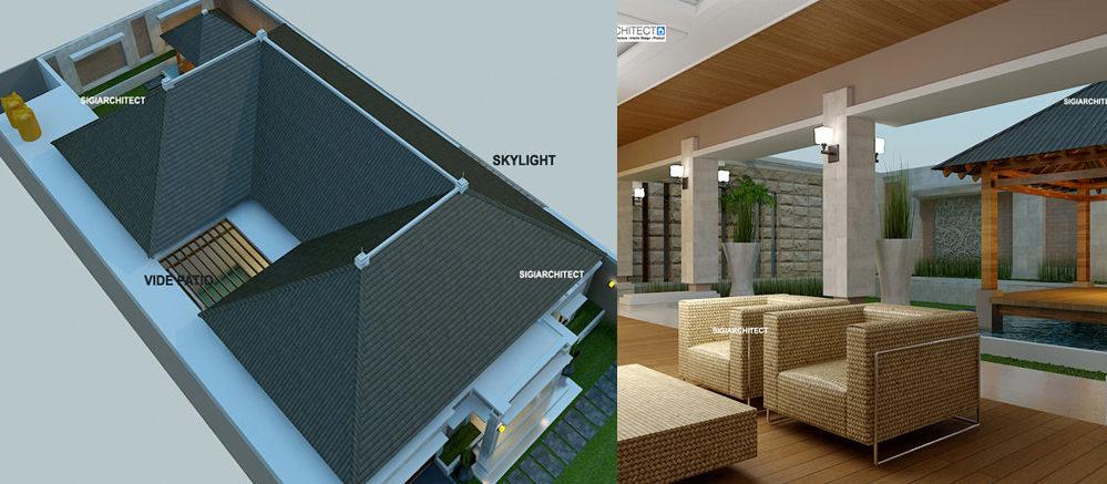 Desain Villa Bali 1 Lantai I Teras Rumah Taman Kolam