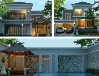 desain villa tropis & kolam renang, model rumah split