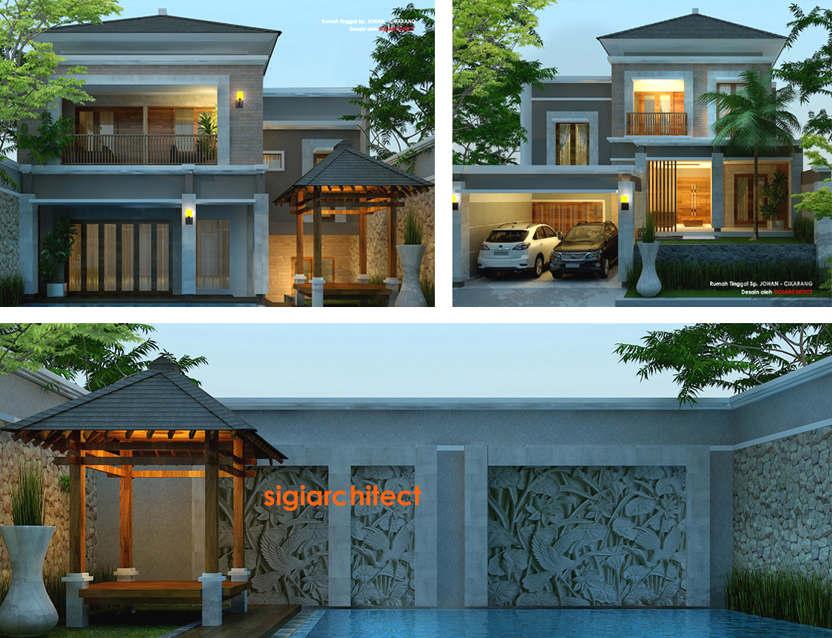 desain villa rumah tropis kolam renang
