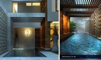 desain rumah pojok tropis 2 lantai & kolam renang, type 600 m2