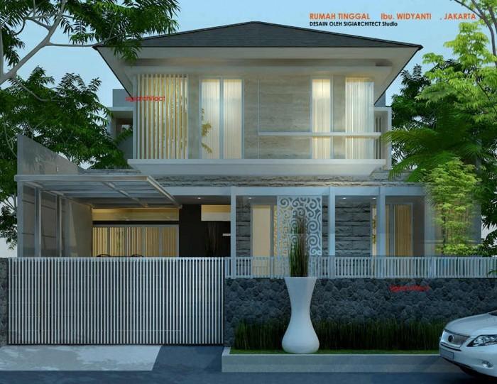 desain rumah tropis batu alam