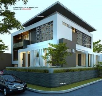 DESAIN RUMAH POJOK_BOX HOUSE_MODERN MINIMALIS_view sudut