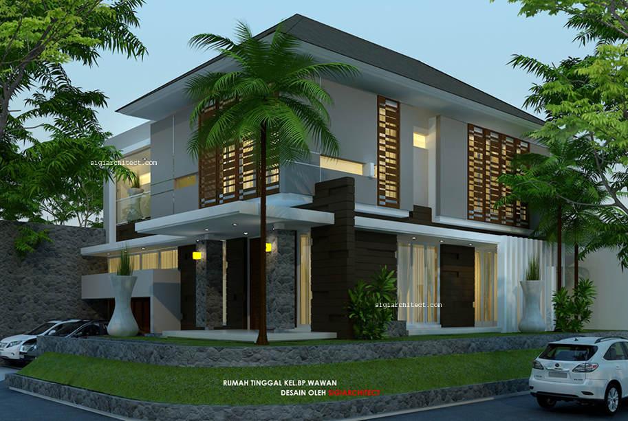 Desain Rumah Pojok Semy Basement_Modern Tropis 2 lantai