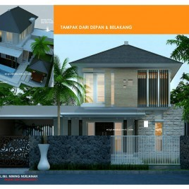 Desain Villa 2 Lantai_Kolam Renang&Gazebo_Aksen Batu Alam
