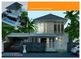 Desain Villa 2 Lantai kolam renang & gazebo Aksen Batu Alam