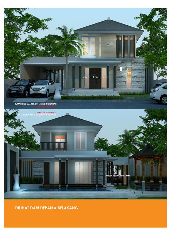 Desain Villa 2 Lantai kolam renang & gazebo Aksen Batu Alam_fasade