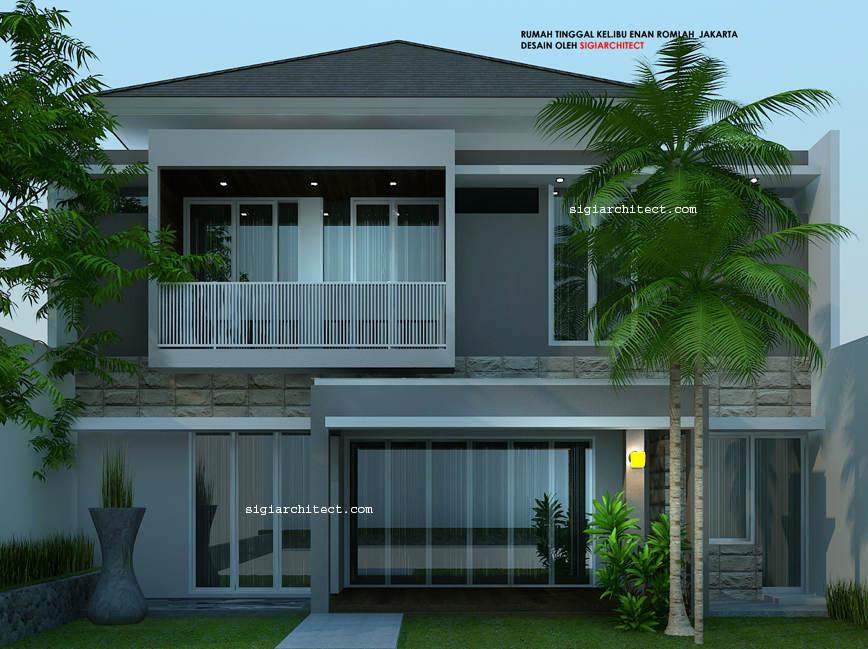 Desain Rumah 2 Lantai Minimalis Tropis Modern Fasade Belakang