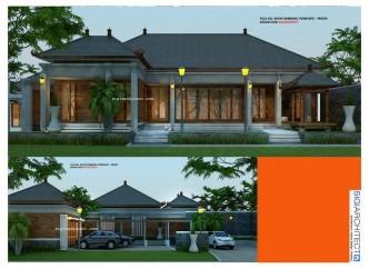 desain villa 1 lantai & kolam renang