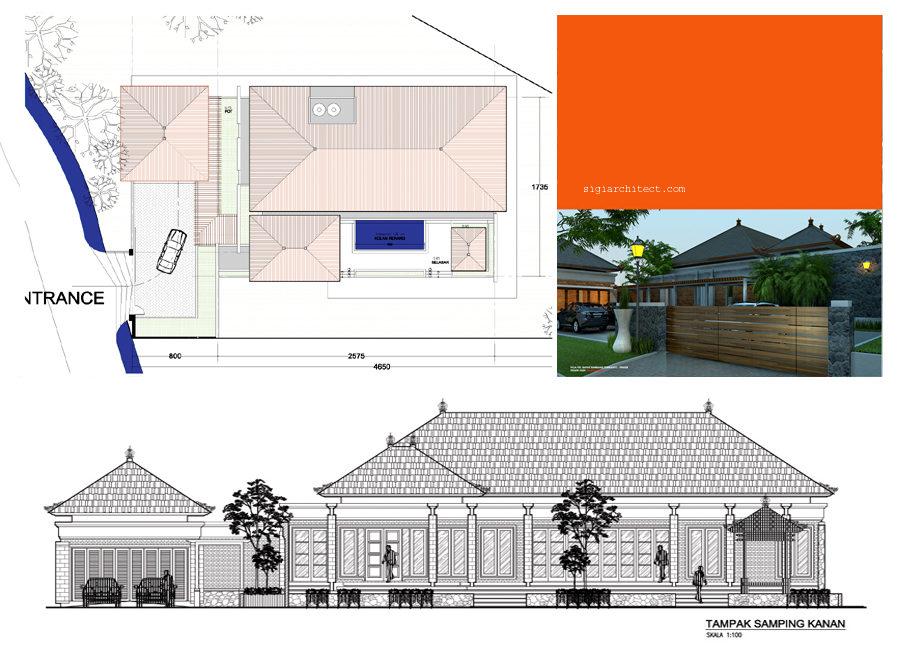 desain villa 1 lantai & kolam renang atap
