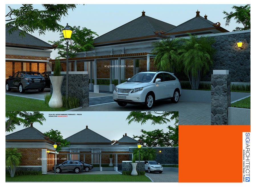 desain villa 1 lantai & kolam renang carport