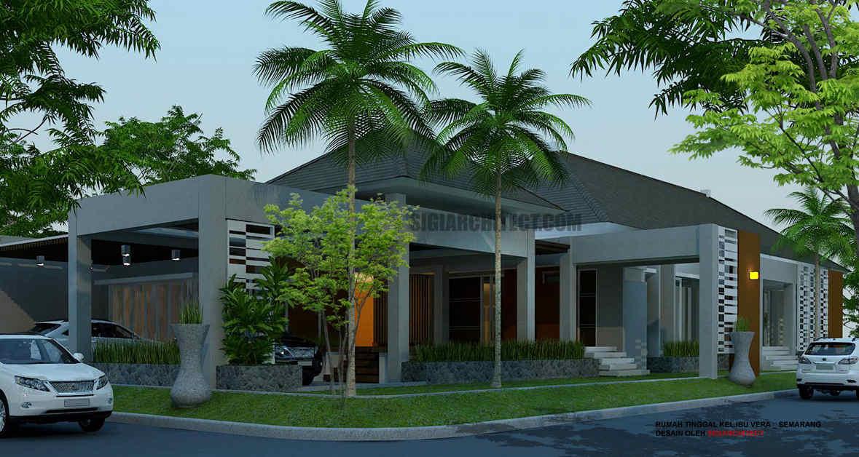 model rumah pojok 1 lantai tropis minimalis