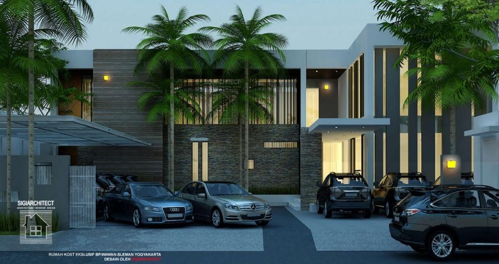 desain rumah kost ekslusif 2 lantai