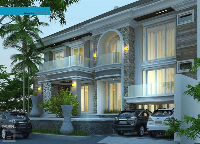 desain rumah mewah mediteran 2 lantai