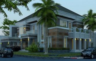 desain rumah dengan kolam renang 2 lantai kavling hook