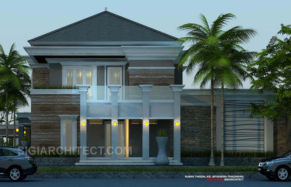 desain rumah dengan kolam renang kavling hook_2 lantai semiklasik