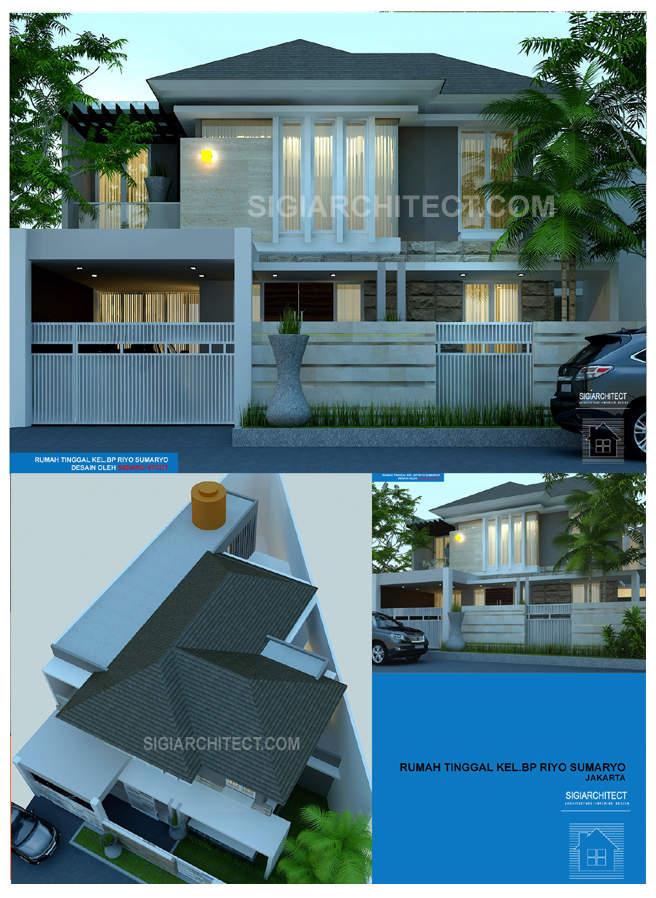 model rumah 2 lantai modern tropis Bp Riyo_Jakarta