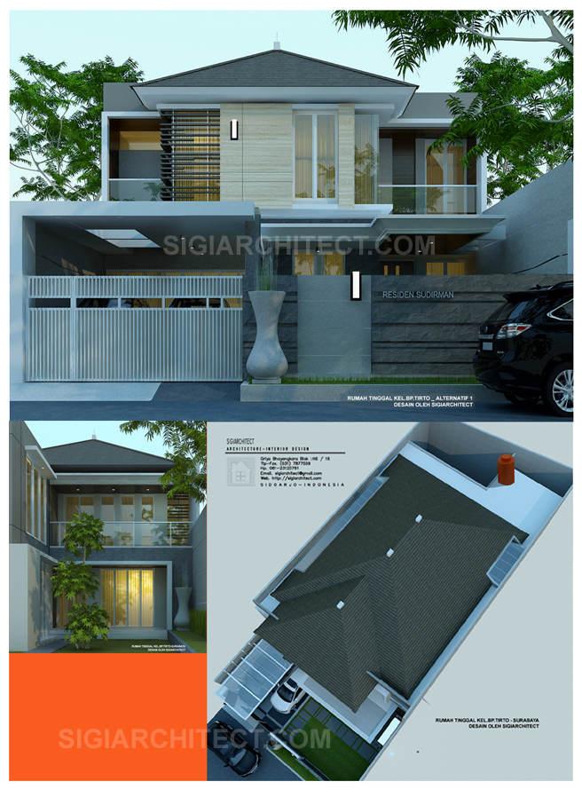model rumah 2 lantai modern tropis Bp Tirto_Surabaya