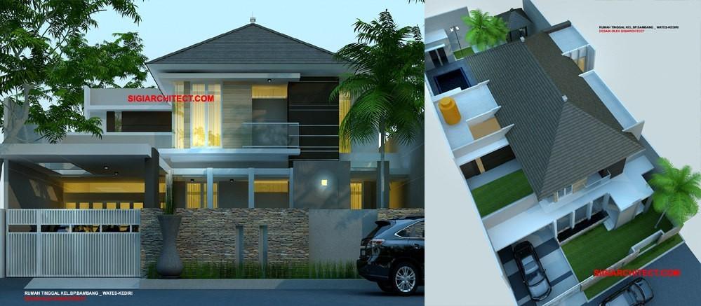 Rumah Mewah Tropis  Lantai Dengan Kolam Renang