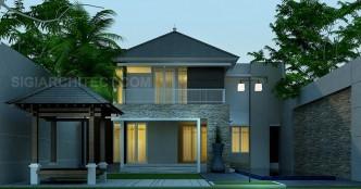 desain rumah mewah tropis 2 lantai dengan kolam renang
