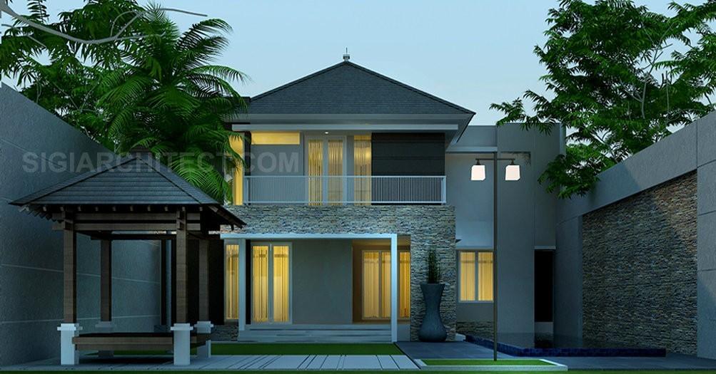 rumah mewah tropis 2 lantai dengan kolam renang