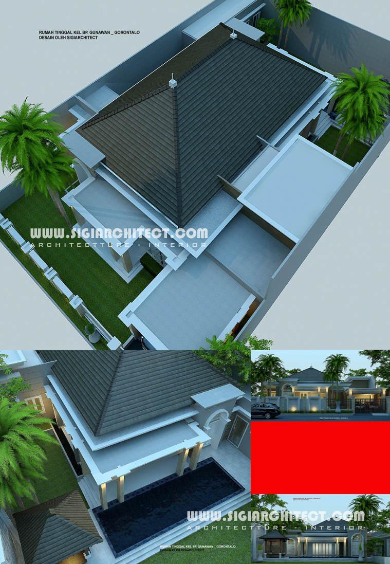 desain rumah villa tropis 1 lantai dengan kolam renang
