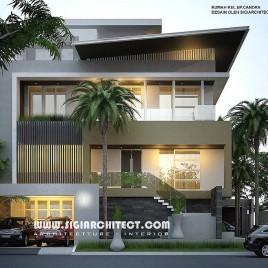 Desain Rumah Mewah Hook 3-4 Lantai, Modern Minimalis