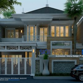 Rumah Klasik Modern 2 Lantai_Taman Samping & Void Interior