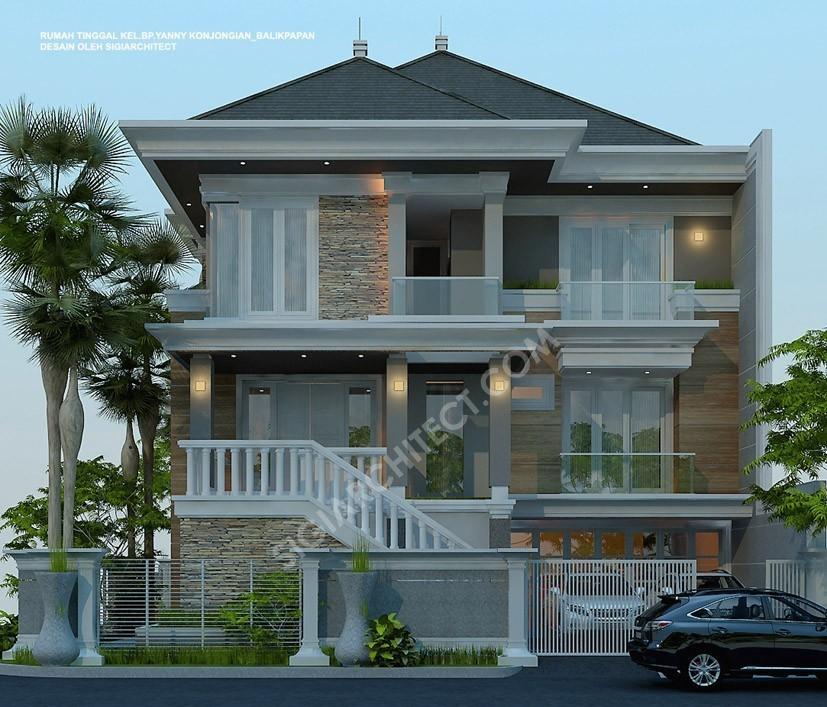 Rumah 3 Lantai Modern Klasik depan