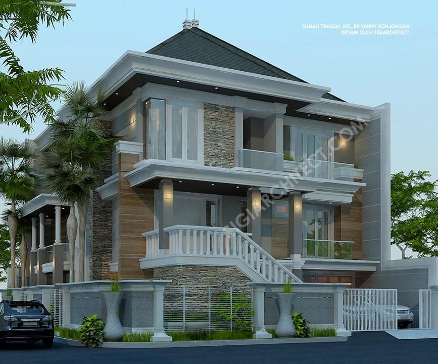 Rumah 3 Lantai Modern Klasik sudut
