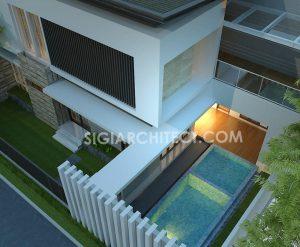rumah hook kolam renang minimalis, desain mewah 2 lantai