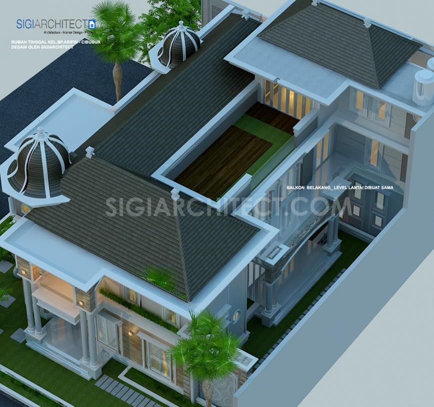 Rumah Klasik Modern 3 Lantai Kavling Hook_Rencana Atap
