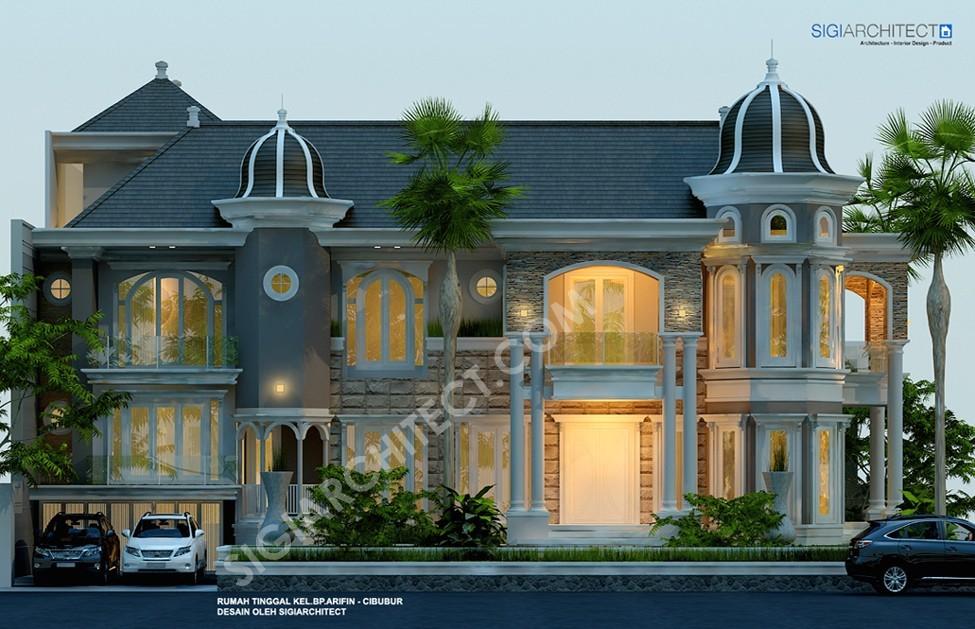 Rumah Klasik Modern 3 Lantai Kavling Hook_Tampak Depan