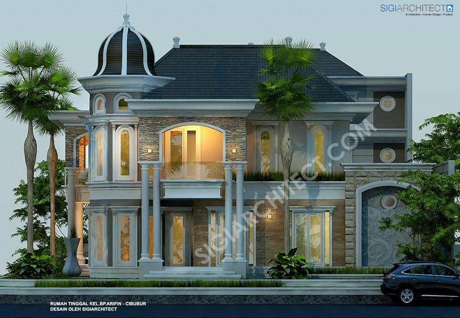 Rumah Klasik Modern 3 Lantai Kavling Hook_Tampak Samping