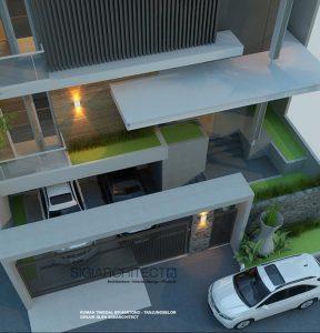 desain rumah semibasemen & kolam renang modern minimalis
