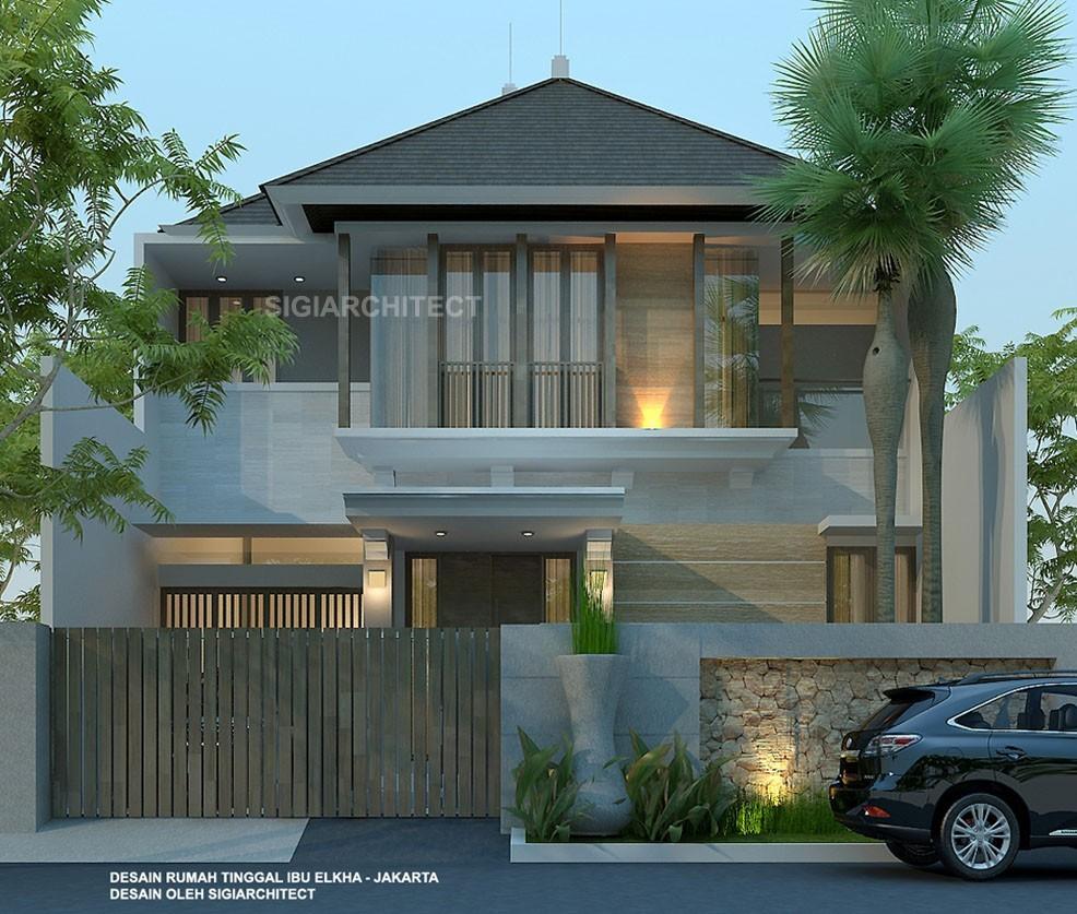 jasa arsitek desain Rumah Tropis 2 Lantai