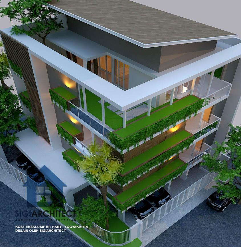 model rumah kost hoek 3-4 lantai modern minimalis
