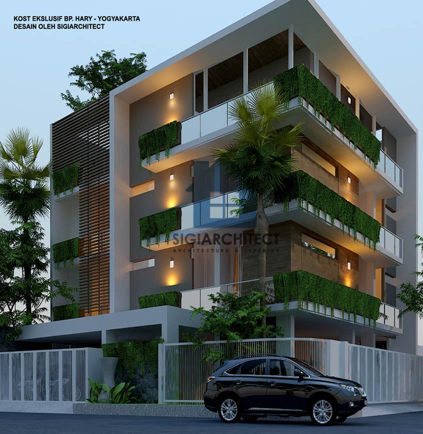 desain rumah kost kavling hoek 3-4 lantai modern minimalis