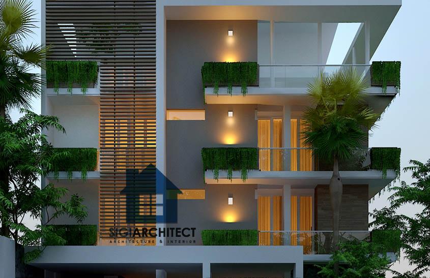 desain rumah kost kavling hoek 3-4 lantai minimalis