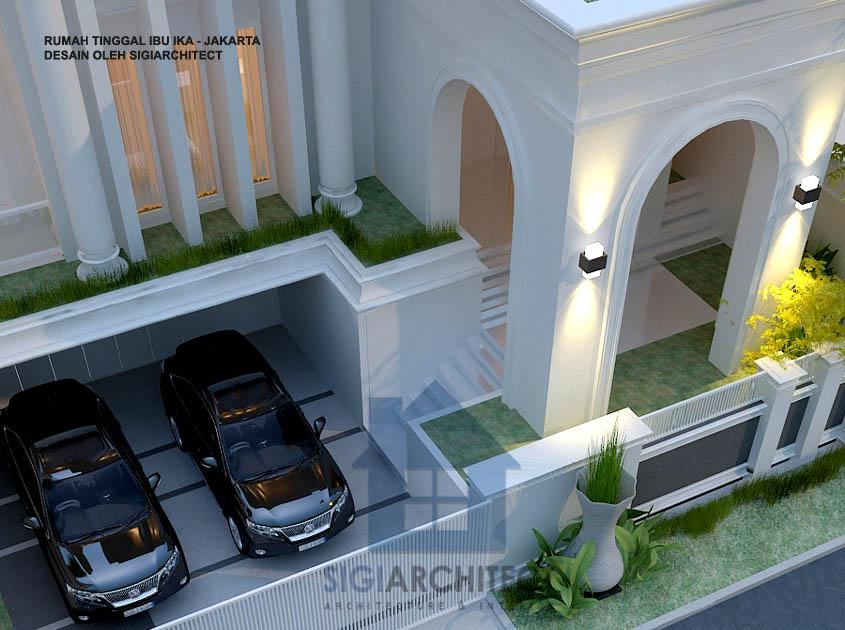 teras taman desain rumah klasik modern 3 lantai