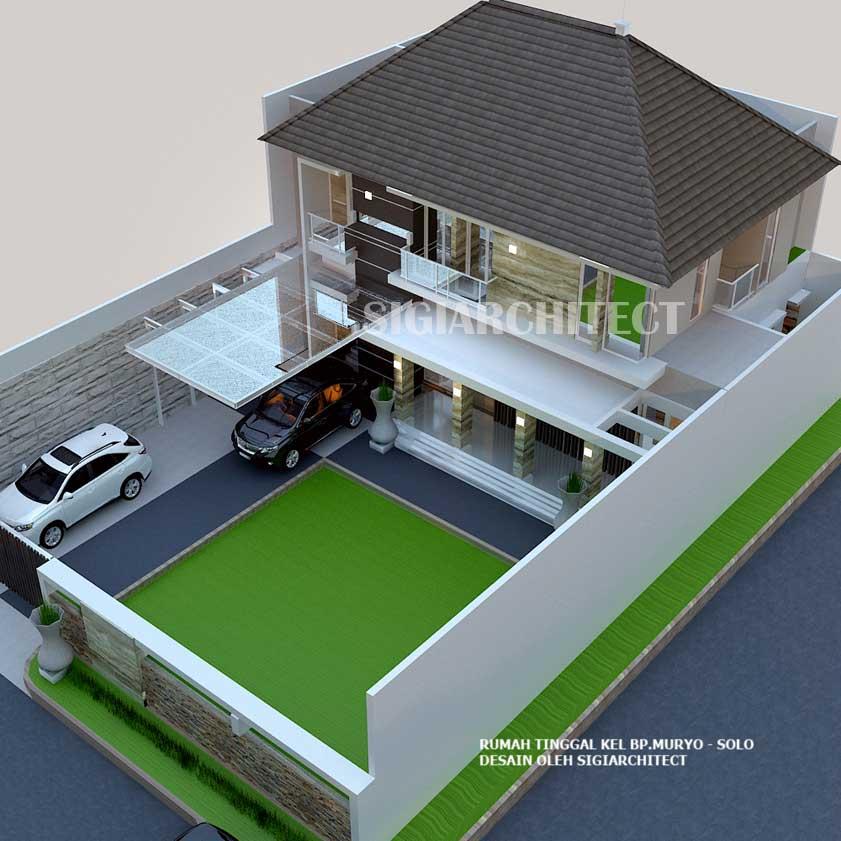 Denah rumah hoek 2 lantai type 300-400 M2