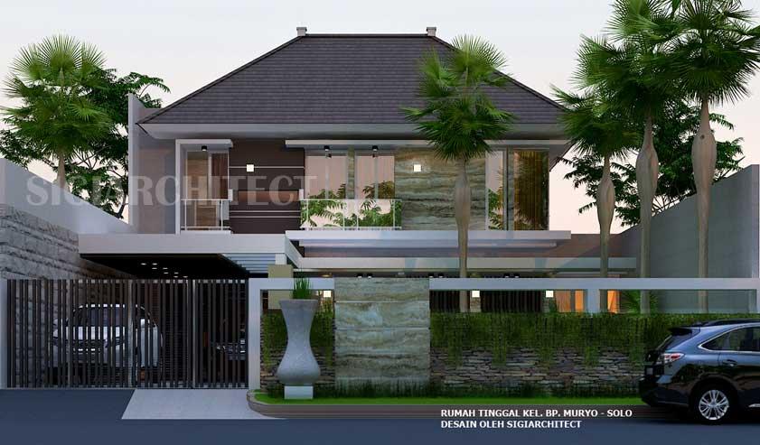 Desain rumah hoek 2 lantai type 300 400 M2 modern