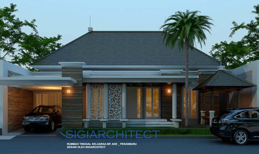 Desain Rumah Klasik Modern 1 Lantai & Kolam Renang Kecil