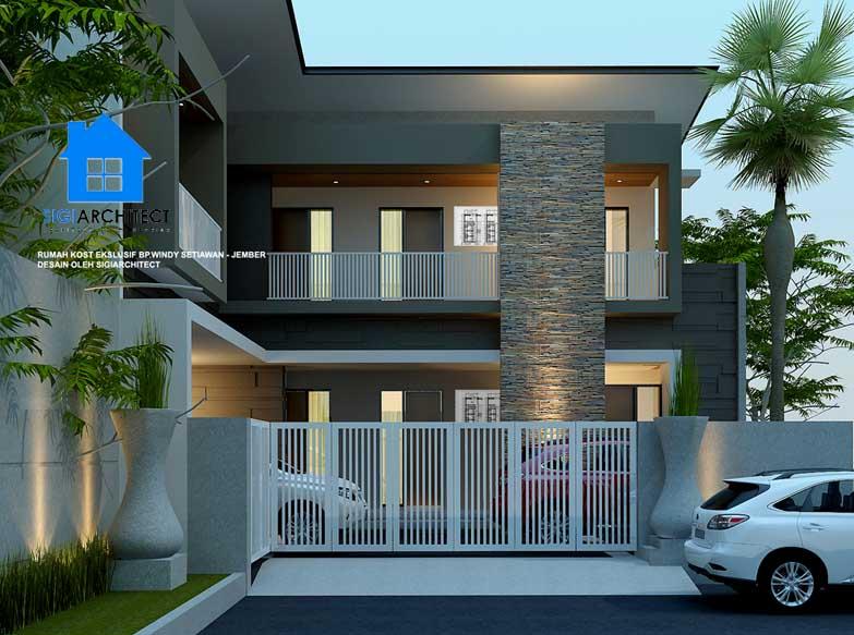 jasa arsitek desain rumah kos ekslusif 2 lantai